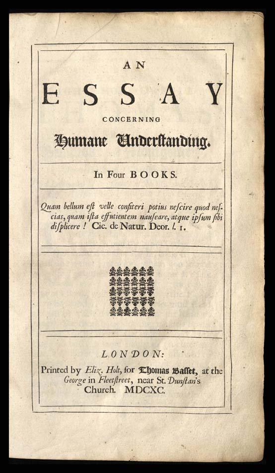 An Essay Concerning Human Understanding, 1690