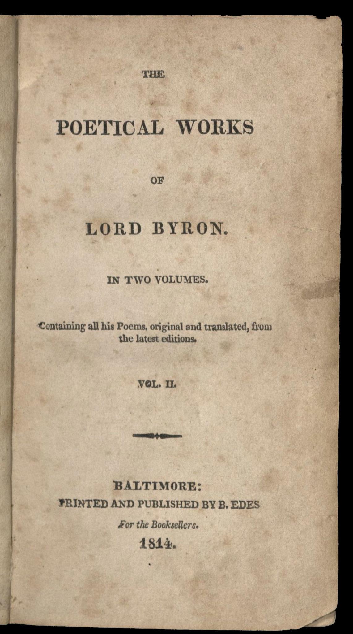 Byron, Poetical Works, 1814