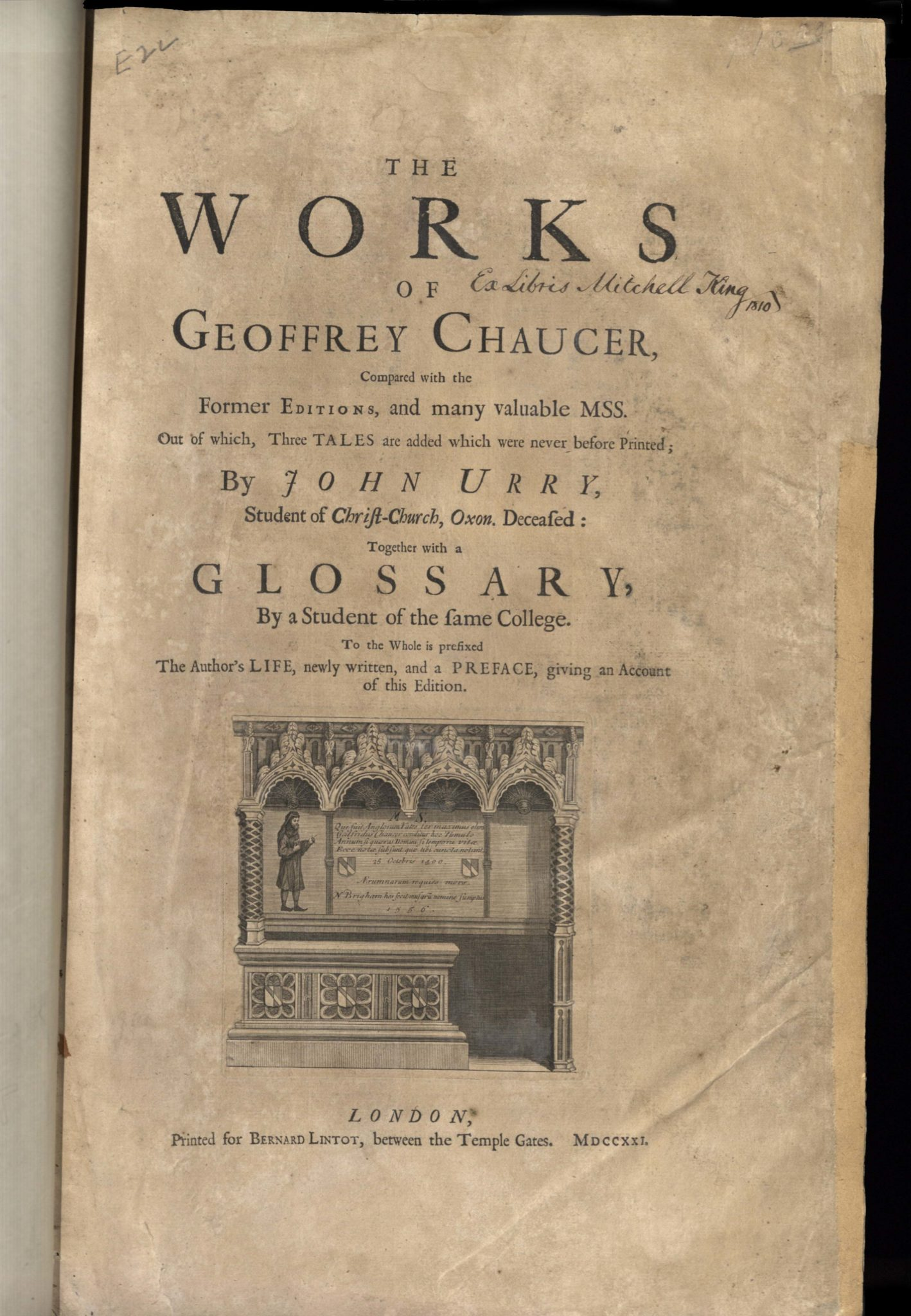 Chaucer, The Works of Geoffrey Chaucer, 1721, Title Page