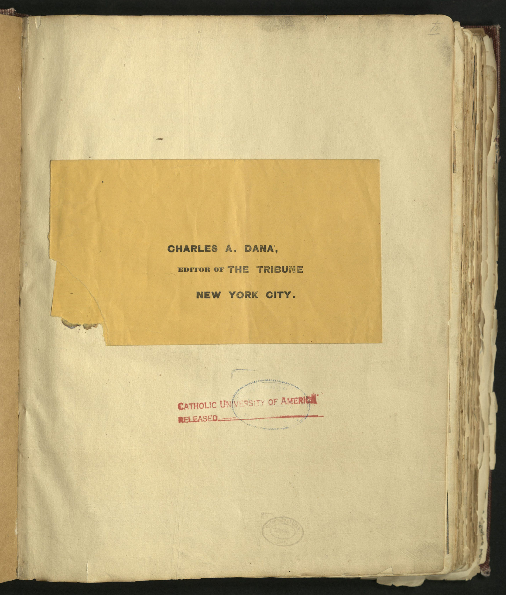 How to scrapbook newspaper clippings - Image Of Page Containing Editor S Envelope And Catholic University Of America Stamp