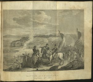 Fold out plate (engraving) of the Battle of Saratoga from the Annals of the American Revolution.