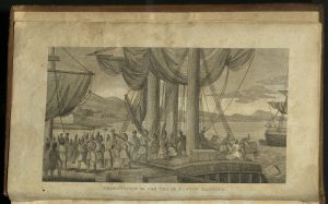 Illustration (frontis piece engraving) of the Annals of the American Revolution, showing a depiction of the Boston Tea Party.