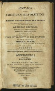Title page of the Annals of the American Revolution.