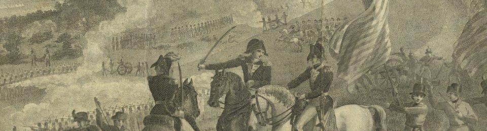 Crop selection from the fold out illustrion (engraving) of the Battle of Saratoga in the Annals of the American Revolution.
