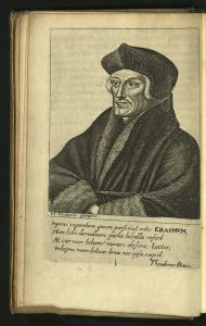 Engraved portrait of Erasmus from 1676 Morias Enkomion.