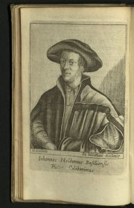 Engraved portrait of Holbein's father from 1676 Morias Enkomion.