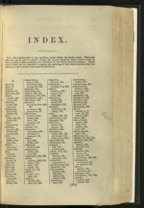 First page of index in Roget's Thesaurus.