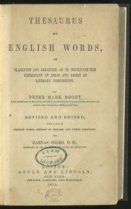 Title page of Roget's Thesaurus of English Words